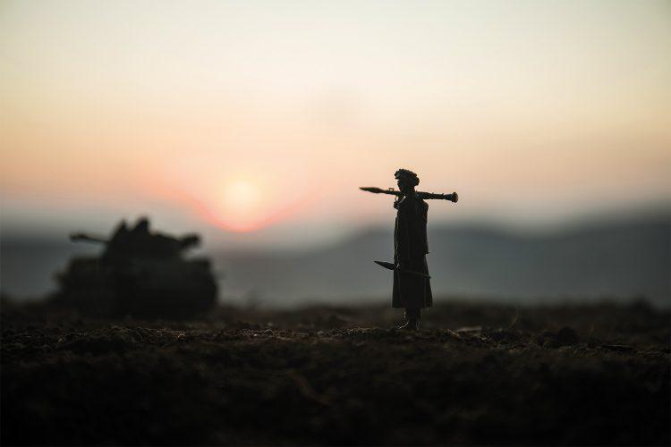 Terrorista en una zona de conflicto.