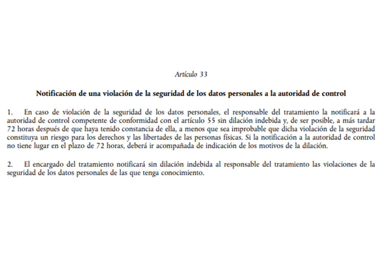 articulo 33 rgpd