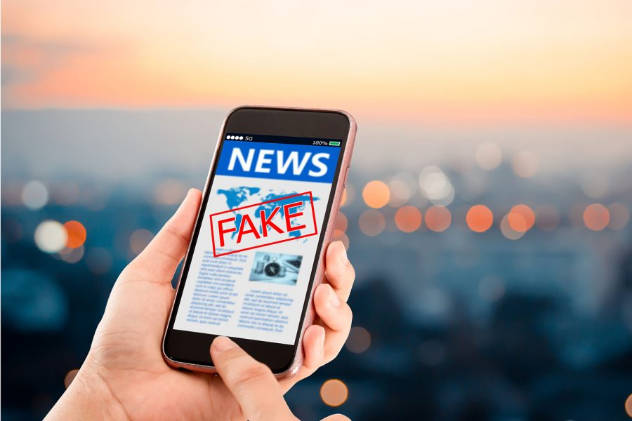 Fake news vista en la pantalla de un teléfono móvil.