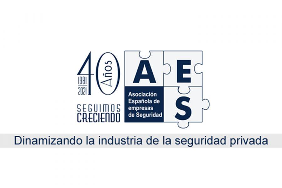 Logotipo de la Asociación Española de Seguridad (AES) por su 40 aniversario.