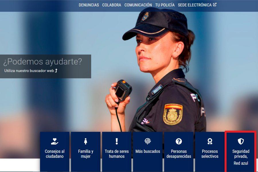 Nueva web de la Policía Nacional con un espacio para la seguridad privada.