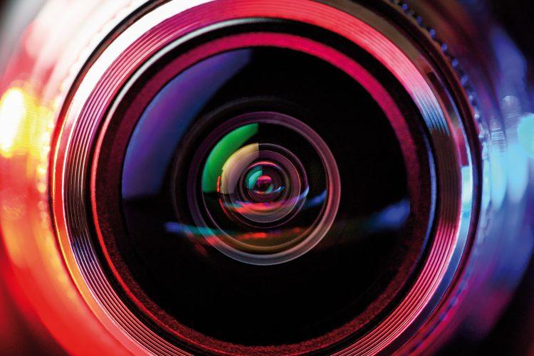Objetivo de una cámara de videovigilancia.
