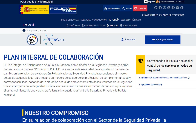 Plan Integral de Seguridad Privada en la web de la Policía Nacional.