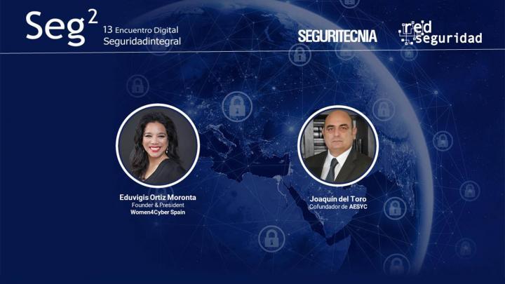 Eduvigis Ortiz,Founder & President de Women4Cyber Spain, y Joaquín del Toro, cofundador de la Alianza Española de Ciberseguridad y Crisis (AESYC).