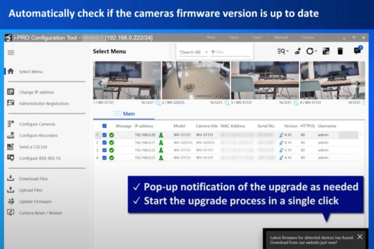 Captura de pantalla de la serie i-PRO de Panasonic